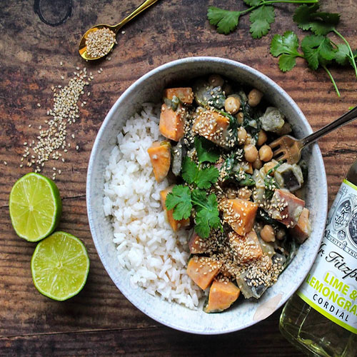 Aubergine & Sweet Potato Coconut Curry by SpamellaB